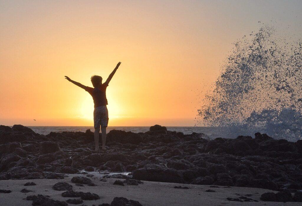 sunset, beach, water