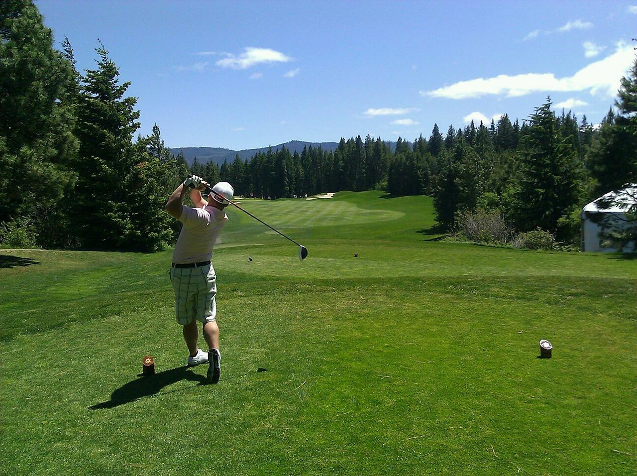 golfing, golfer, man